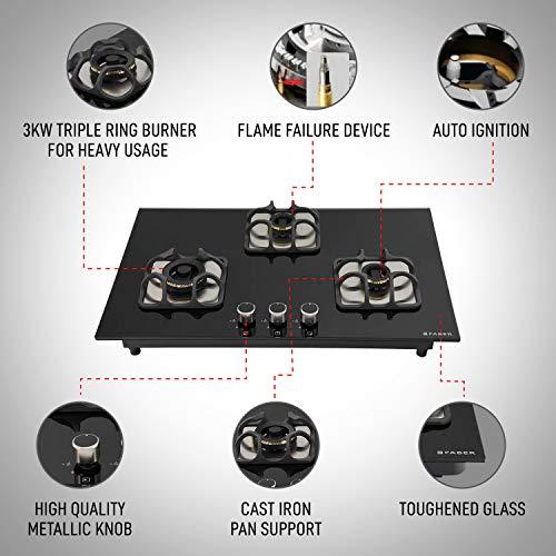 Faber Mild Steel Hobtop Imperia Plus 783 BRB Ci Bk 3 Brass Burner Auto Electric Ignition Glass Top (Black)
