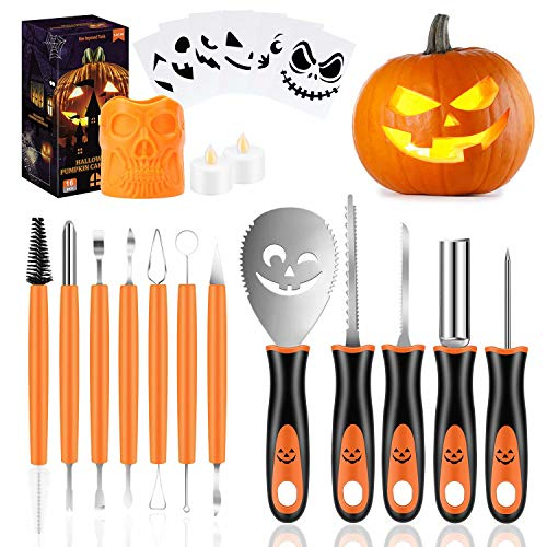 Professional Halloween Pumpkin Carving Kit, 21Pcs Pumpkin Cutting Supplies Tools with Skull Storage Carrying Bucket, 2 LED Candles & 6Pcs Free Carving Template for Halloween Jack-O-Lanterns Decoration