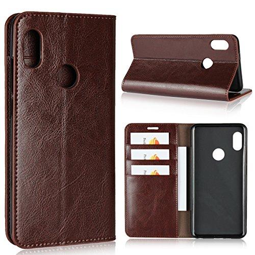 Sunrive Für Xiaomi Mi A2/Mi 6X, Echt-Ledertasche Schutzhülle Hülle Standfunktion Flip Lederhülle Hülle Handyhülle Schalen Kreditkarte Handy Tasche(braun)+Gratis Universal Eingabestift