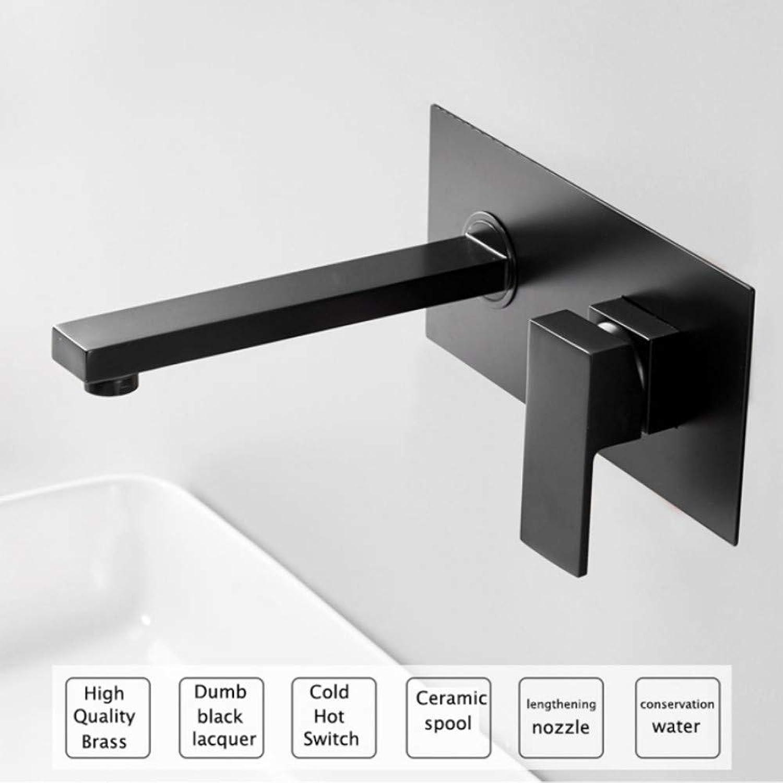 Lddpl Wasserhahn Luxus Mattschwarz Bad Wasserhahn Waschbecken Wasserhahn Wand Quadrat Messing Mischbatterie