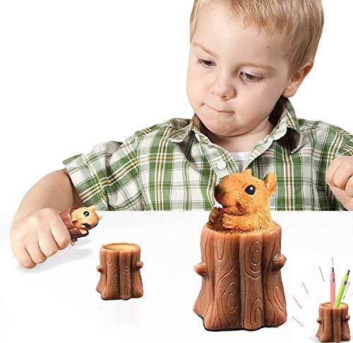Silicona Sensory Fidget Toy Pen Holder diversión ardilla taza apretón juguete descompresión árbol alivio del estrés para niños y adultos edad 3+