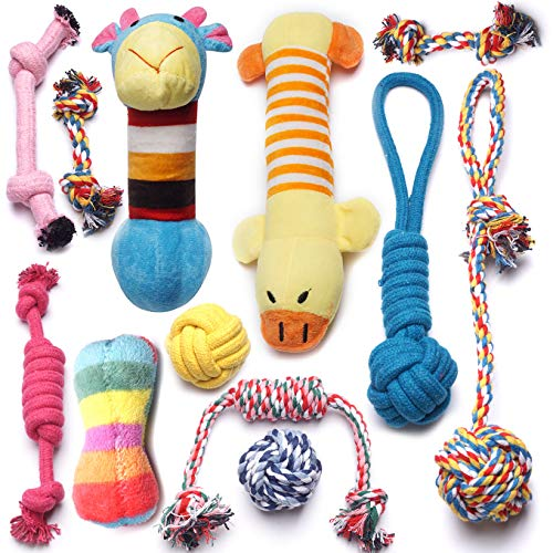 (Pack of 12) Dog Rope Toys Squeaky Plush Dog Toys,Dog Chew Toys Set for Puppies and Small Dogs(Pack of 12)