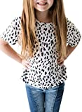 Sidefeel Girls Cute Leopard Print Tops Short Round Neck Short Sleeve Loose Soft Blouse T-Shirt Size 12-13 White