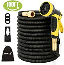 [Updated 3750D] Expandable Garden Hose,100ft Garden Water Hose Expandable,Flexible Strongest Triple Latex Core with 3/4 Solid Brass Fittings 10 Function Spray Nozzle for Watering and Cleaning