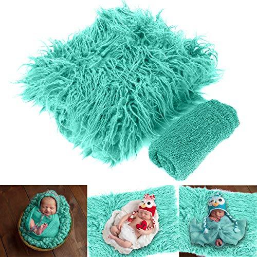 Baby Photo Props Fluffy Blanket Ripple Wrap Set Recién nacido Fotografía Wrap Mat verde pálido 30x40cm