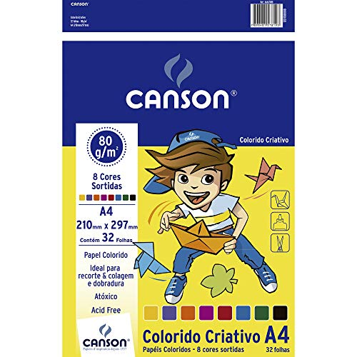 Papel Colorido A4 80g/m², Canson, 66667088, Criativo, 8 Cores, 32 Folhas