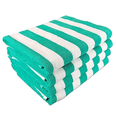 California Cabana Striped Oversized Beach Towel   Set of Four Extra Large 30  x 70    100% Ringspun Cotton Double Yarn Strength   Perfect Pool Towel, Beach Towel, Bath Towel- by Arkwright (Green)