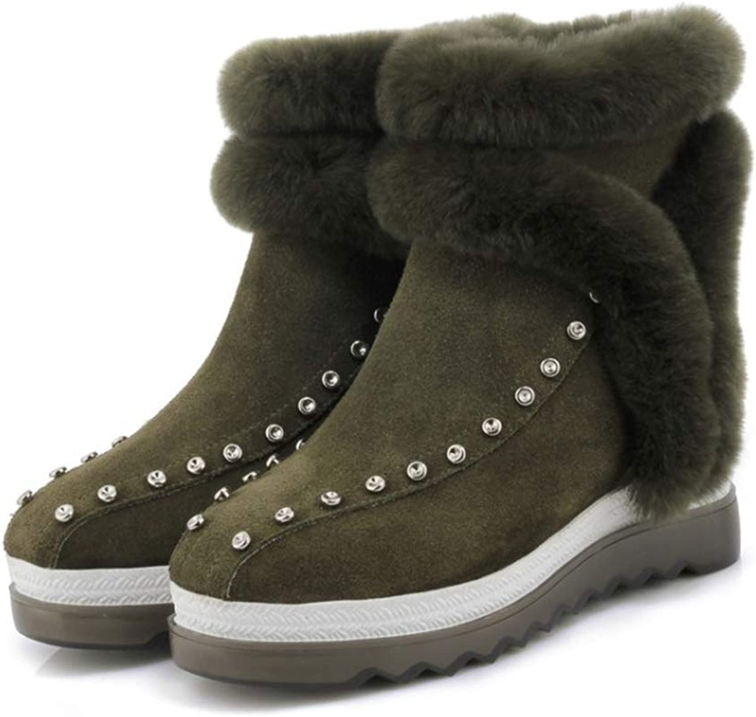 Women's Snow Boots, Winter Wedge Heel Fashion Boots Ladies Round Keep Warm Leather Personality Rivet Booties (color   A, Size   39)