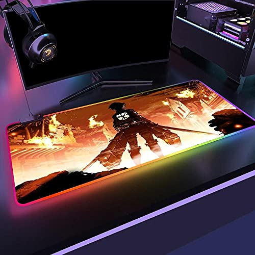 RGB Anime Attack on Titan anime musmatta speldator musmatta LED stor spelare Mausepad matta stor LED skrivbordsmatta XXL (400 x 900 mm)