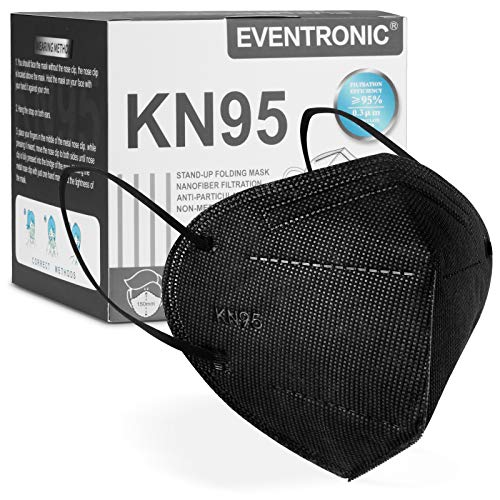 KN95 Face Masks, Eventronic Five-Layer Breathable Cup Dust Masks, 30 Packs Black