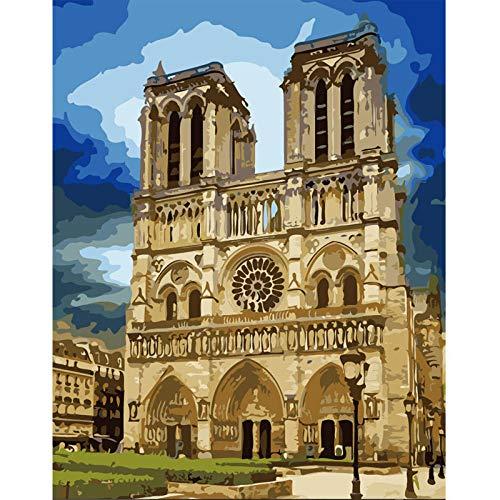 5d diy pintura diamante taladro completo kit taladro completo de punto de cruz Bordado Pinturas Artes para la decoración de la pared del hogar,1789 Torres gemelas de Notre Dame (30 x 40 cm)
