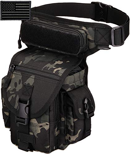 Protector Plus Tactical Drop Leg Bag Military Tool Fanny Thigh Pack Utility Airsoft Motorcycle Cycling Waist Gear Pouch (Patch Included), Black Camo