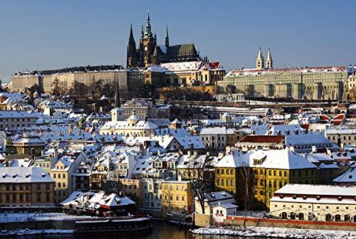 SiJOO 1000 Holzpuzzleteile, Holzpuzzlespiele, Lernspielzeug für Erwachsene Kinder mit weißer Karte in der tschechischen Winterszene