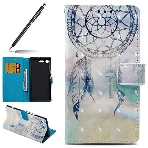 Uposao Kompatibel mit Handyhülle Sony Xperia XZ Premium Handytasche 3D Glitzer Glänzend Kristall Bling Handy Schutzhülle Flip Hülle Cover Tasche Brieftasche Klapphülle Lederhülle,Traumfänger