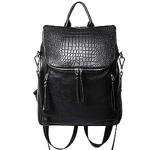 CLUCI Genuine Leather Women Backpack Purse Fashion Large Designer Travel Ladies Shoulder Bag 12