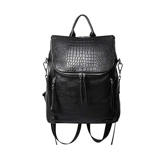 CLUCI Genuine Leather Women Backpack Purse Fashion Large Designer Travel Ladies Shoulder Bag 1