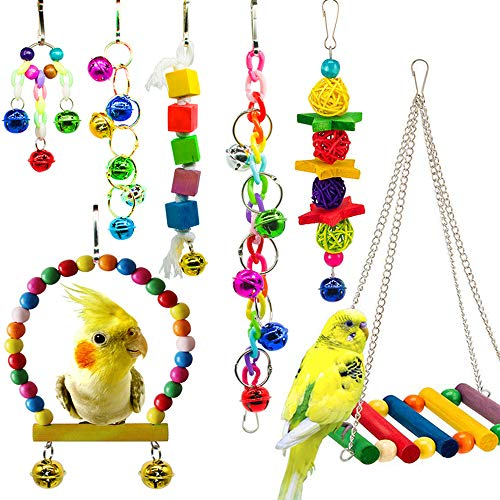 hatisan 7 Pack Bird Parrot Toys, Colorful Bird Chewing Toys Swing Toy Hanging Toy Bird Cage Toys or Small Parakeets Cockatiels, Conures, Macaws, Parrots, Love Birds, Finches