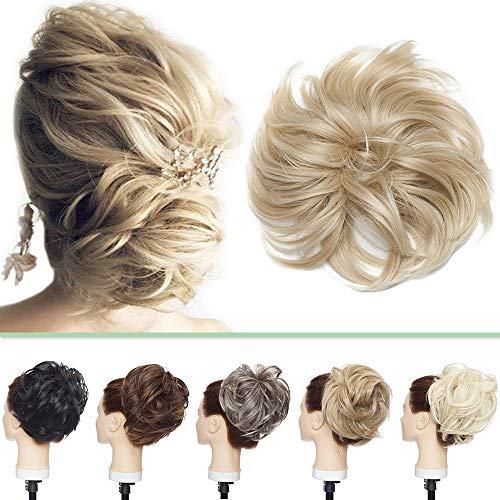 Haarteil Haargummi Messy Hair Bun Hair Extensions Voluminös Haarteil Dutt mit Haaren Günstig Weich Gewellt Haarknoten Natürlich wie Echthaar 80g #Aschblond zu Bleichblond