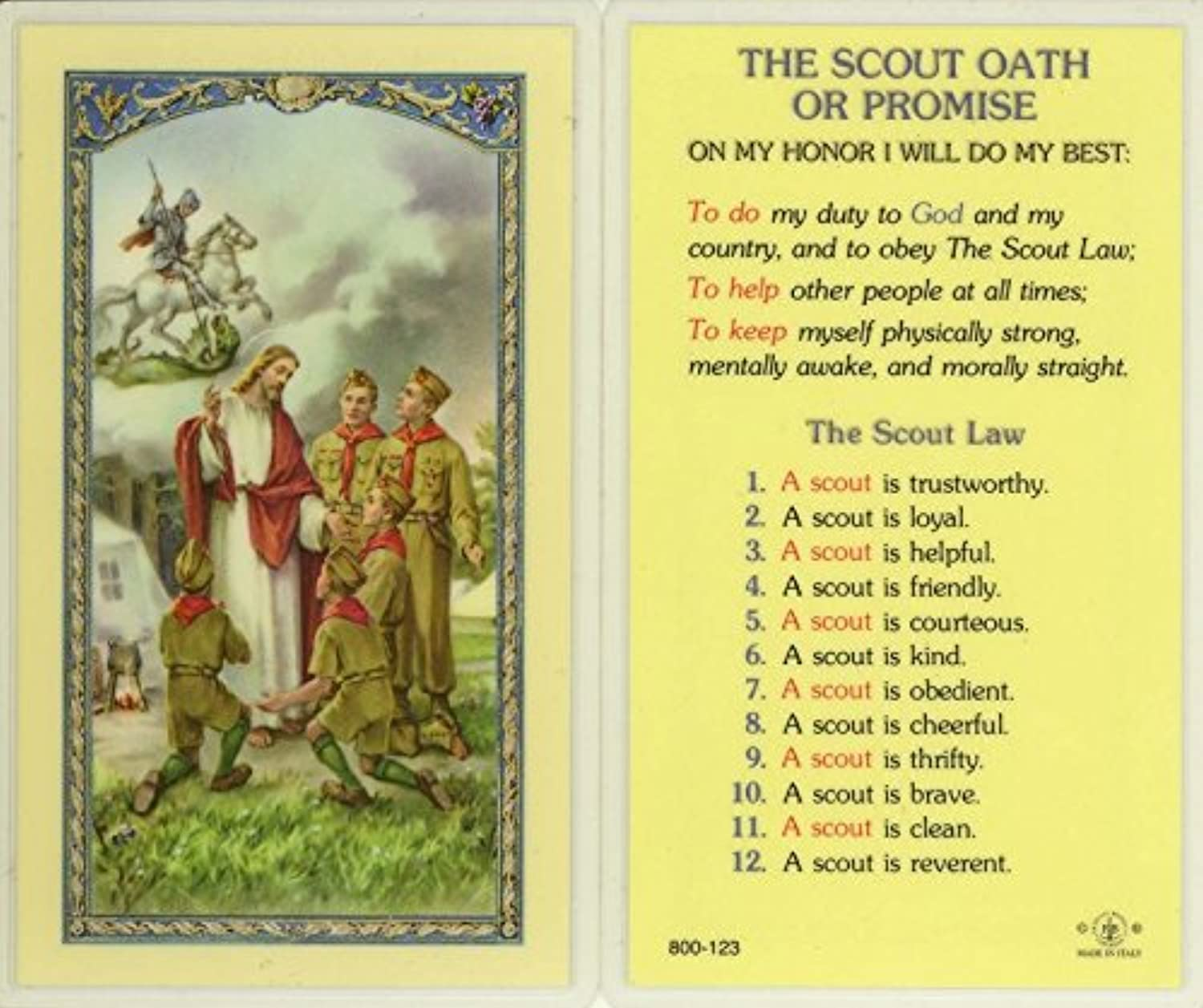 StealStreet SSWJHE24759 The Boy Scout Oath or Promise, Clear Holy Cards