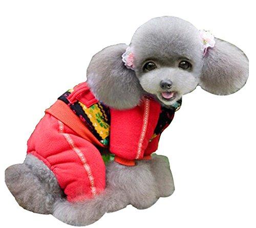 Blancho confortable Coton d'hiver pour chien pour animal domestique Vêtements (Rouge, 21 x 39 x 29 cm)
