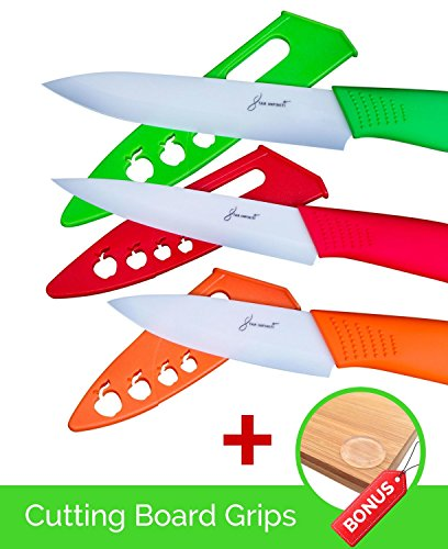 3 Piece Ceramic Knife Set with Blade Covers PDF Recipe Book Cutting Board Grips - Great Safe Kitchen Cutting Knives 3, 4, 5 Inch - Red, Orange, Green - Best Vegetable, Utility, Paring Knife