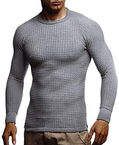 Leif Nelson Herren-Strickpullover Woll-Pullover mit Rundkragen Moderner Pullover Sweatshirt LN20746; L; Grau