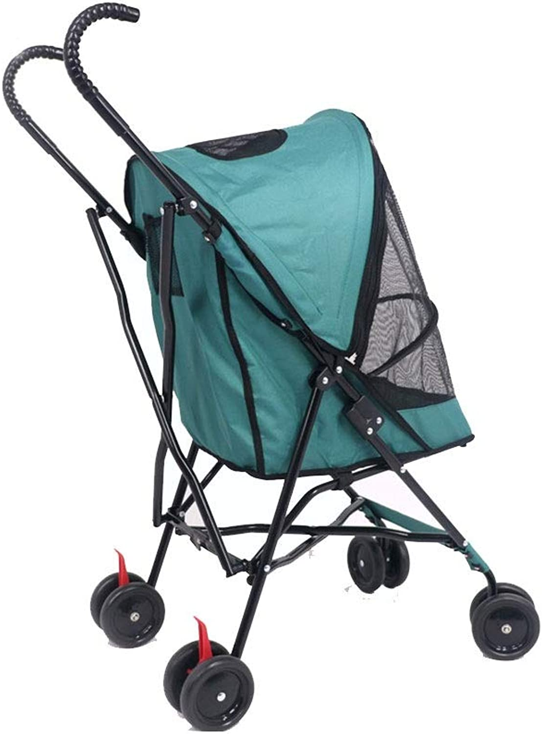 Lihuaa Pet Car Trolley Small Dog Teddy Bomei Puppy Cart Four Wheel Free Inssizetion Cat Cart (color   Green)