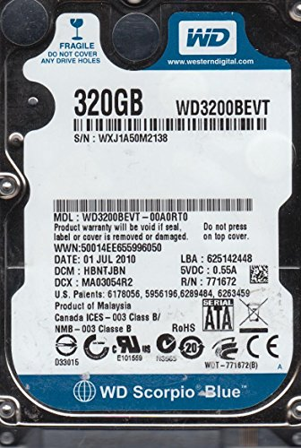 WD3200BEVT-00A0RT0 Western Digital - Disco Duro Interno (320 GB, 5400 RPM, SATA 3.0 Gbps, 2,5