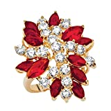 Palm Beach Jewelry 18K Yellow Gold Plated Marquise Cut Simulated Red Ruby and Cubic Zirconia Flower Ring Size 7