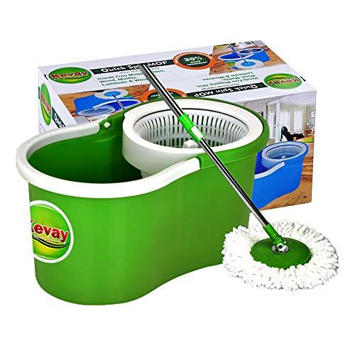 Kevay P323 Plastic Aqua 360 Degree Spin Mop Bucket with 2 Refills (Green, Standard)