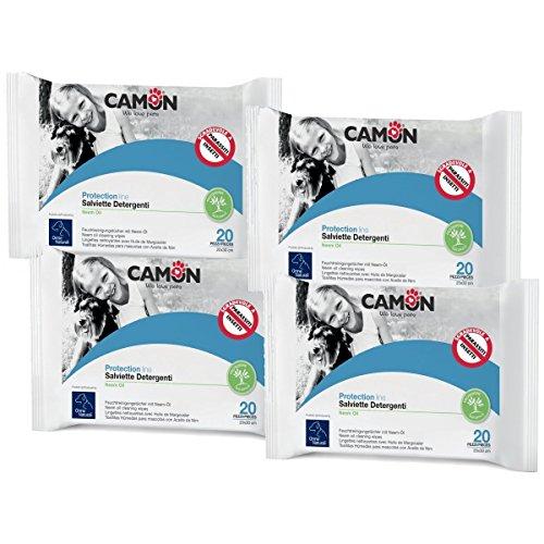 Camon Salviette Detergenti Antiparassitarie all'Olio di Neem per Cani e Gatti 4 Confezioni
