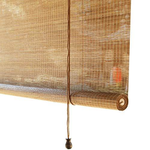 YANZHEN-Bambus Rollo Schatten Bambusrollo Lichtübertragung Japanischer Stil Pavillon Heben, 2 Farben, Anpassbar (Color : A, Size : 135×225cm)