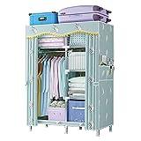 Armario de tela simple, armario de guardarropa portátil, armario de acero espesado de doble armario de armario, gabinete de almacenamiento de armario, plegable multifuncional (Azul)