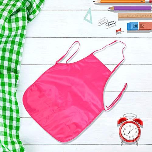 Delantal infantil sin mangas impermeable para niños de 48 * 35 cm para la escuela para pintar(Pink)