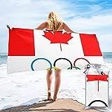 Microfaser Strandtuch, Leicht & Kompakt Stranddecke Schnelltrocknend Kanada Flagge Olympia-Logo Leicht Schnelltrocknend Saugstark, Weich, Sand Proof. Das Beste Pool Handtuch Badetuch auf Schwimmen,
