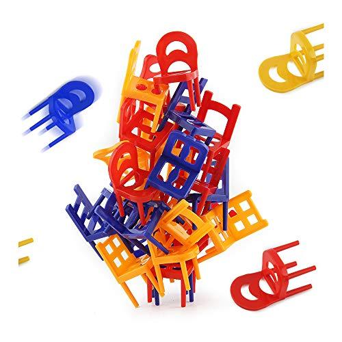 Sipobuy Juego de apilamiento de sillas de Mesa, Juguete Stacker Balance para Juego Educativo de niños, 24 sillas
