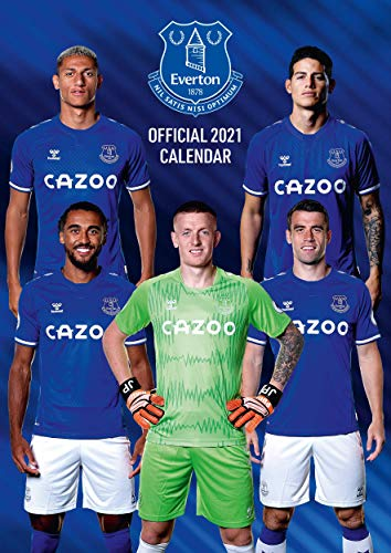 Everton 2021 Wall Calendar Football Toffees Official A3 Calendar with Organising Stickers Great Gift