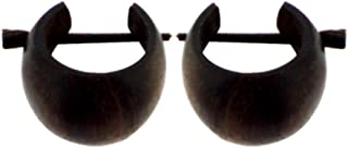 Chic-Net: Orecchini a cerchio di legno - legno marrone scuro - scolpiti a mano,16 mm