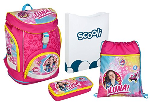 Scooli Sorn7551AZ - schoolrugzak met opbergdoos, gymtas en gevulde etui, licht, ergonomisch, Disney Soy Luna, 4-delig