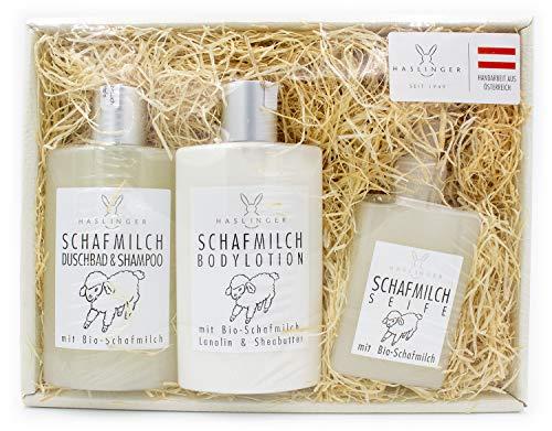Geschenkset Schafmilch von Haslinger mit Duschbad und Shampoo, Bodylotion, flüssige Seife