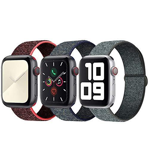 SSEIHI Kompatibel mit Apple Watch Armband 38mm 40mm,Soft Sport Loop Leichter Atmungsaktiver Nylon Armband Für die iWatch Serie 5/4/3/2/1, Sport+, Edition,RedBlack/Fog/Gray