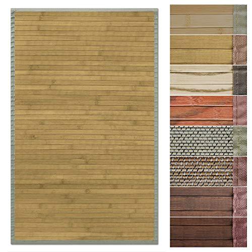 Floordirekt Bambusteppich Bambusmatte mit Stoffrahmen | Natur Design in vielen Farben & Größen (200 x 300 cm, Marigold)