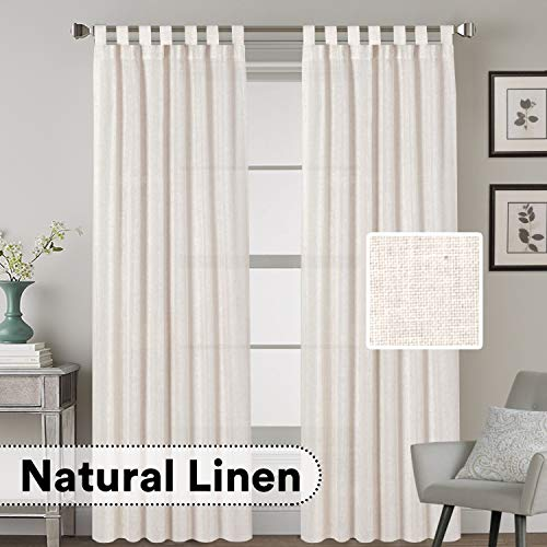 H.VERSAILTEX 2 Pack Ultra Luxurious Solid High Woven Linen Elegant Curtains 7 Tab Top Breathable and Airy Drapes for Bedroom/Livingroom - 52 by 96 Inch, Set 2 Panels, Natural