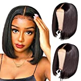 TOOCCI Parrucca Donna Capelli Umani 4x4 Lace Front Wigs Human Hair Straight Short Bob Wig Natural Color Brasiliani Vergini Veri Glueless Wig with Natural Hairline 10inch