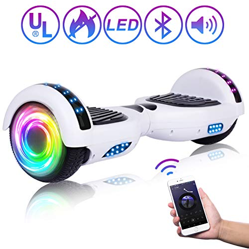 """SISIGAD Hoverboard 6.5"""" Self Balancing Scooter with Colorful LED Wheels Lights Two-Wheels self Balancing Hoverboard Dual 300W Motors Hover Board UL2272 Certified"""