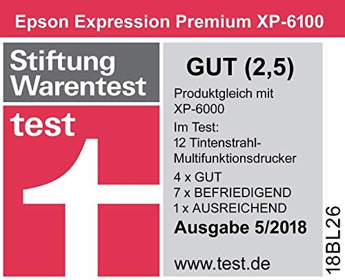 Epson Expression Premium XP-6100 3-in-1 Multifunktionsgerät Drucker (Scannen, Kopieren, WiFi, Duplex, 6,1 cm Display, Einzelpatronen, 5 Farben, DIN A4, Amazon Dash Replenishment-fähig) schwarz
