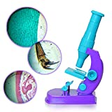 Sytaun Kinder 150X DIY Mikroskop Wissenschaft Experiment Ausrüstung Puzzle Early Education Toy EIN Klassisches Spielzeug Für Körper Und Geist Lila-blau