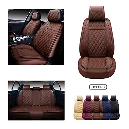 OASIS AUTO Leather Car Seat Covers, Faux Leatherette Automotive Vehicle Cushion Cover for Cars SUV Pick-up Truck Universal Fit Set for Auto Interior Accessories (Brown, OS-009 Full Set)