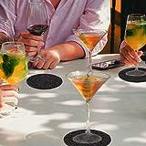 Glowbal Filz Untersetzer rund für Gläser 12er Set, Design Glasuntersetzer in dunkelgrau für Getränke, Bar, Tassen, Glas - Tischuntersetzer Filzuntersetzer - 3