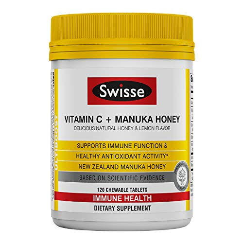 Swisse Ultiboost Vitamin C with Manuka Honey | Immunity Support, Rich in Antioxidants | 120 Chewable Tablets